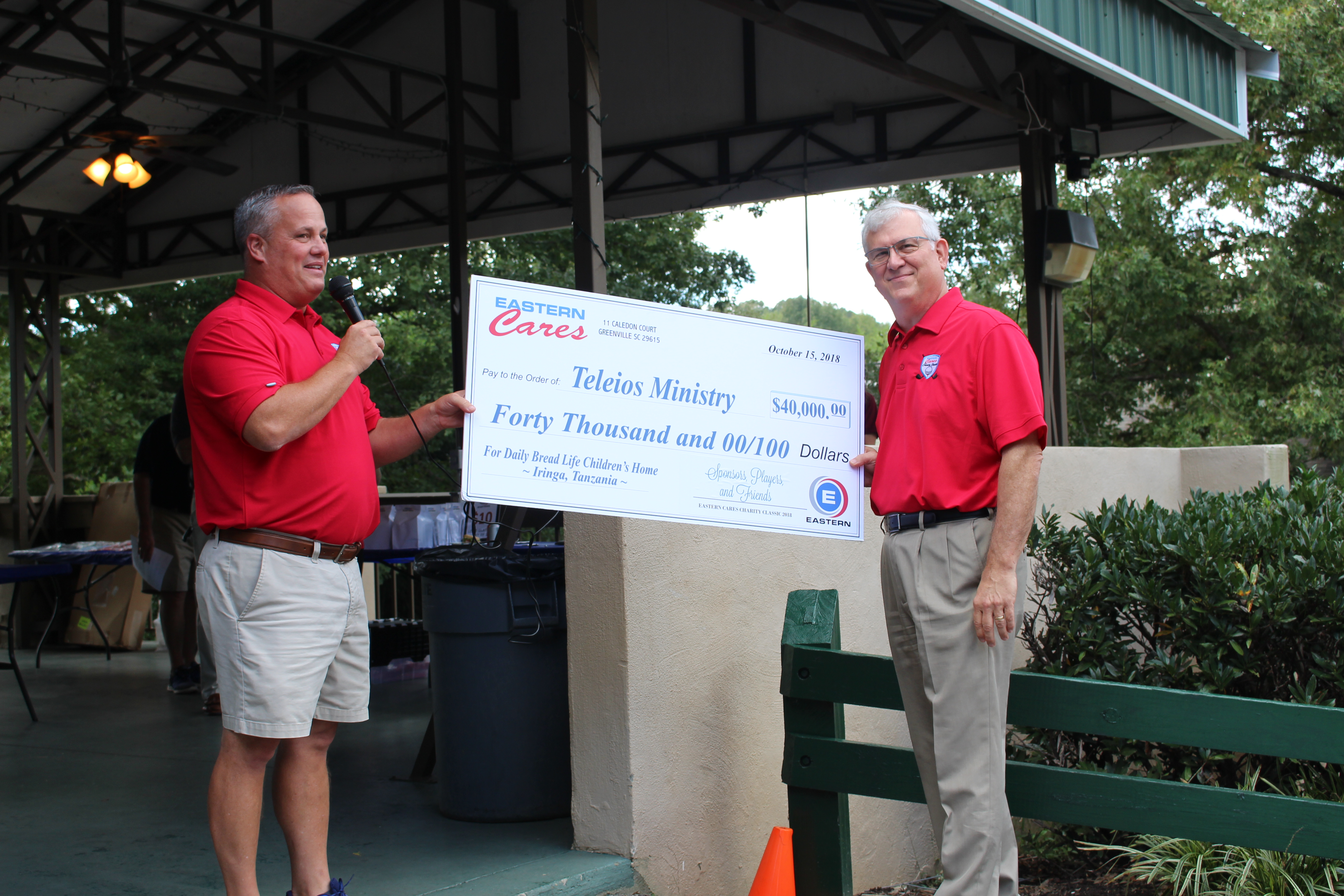 Eastern Cares Charity Classic Check Presentation with David Kay and Floyd Parker