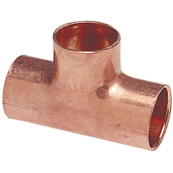 Copper Wrot Reducing Tee, 1 in x 3/4 in x 1 in, Copper