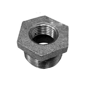 Black Malleable Iron Class 150 Type A Hex Bushing, 1 in x 1/2 in, FNPT x MNPT, Domestic