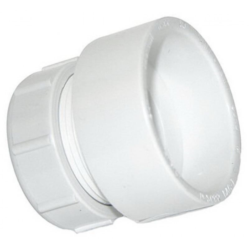 White PVC SCH 40 DWV Trap Adapter, 1-1/2 in x 1-1/4 in, Hub x Slip