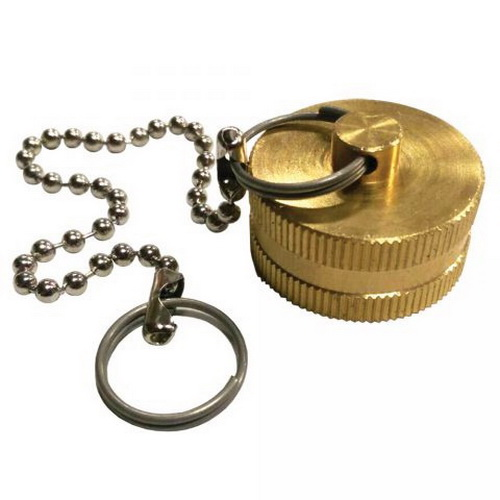 Zinc Plated Brass Garden Hose Cap with Chain, 3/4 in, FHT