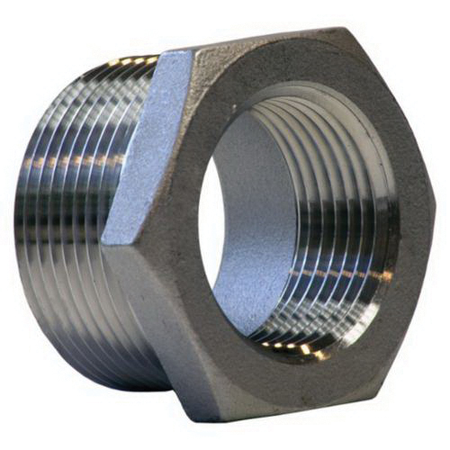 304 Stainless Steel Class 150 Hex Bushing, 3/4 in x 3/8 in, FNPT x MNPT, Import