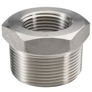 304 Stainless Steel Class 150 Forged Barstock Hex Bushing, 3/8 in x 1/8 in, MNPT x FNPT, Import