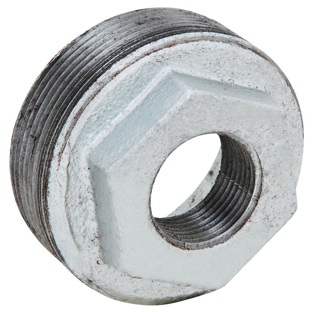 Galvanized Malleable Iron Class 150 Inside Hex Bushing, 2 in x 3/4 in, Threaded, Import