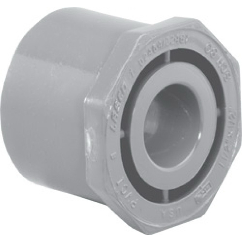 Light Gray CPVC SCH 80 Flush Style Reducer Bushing, 2-1/2 in x 1 in, Spigot x Slip
