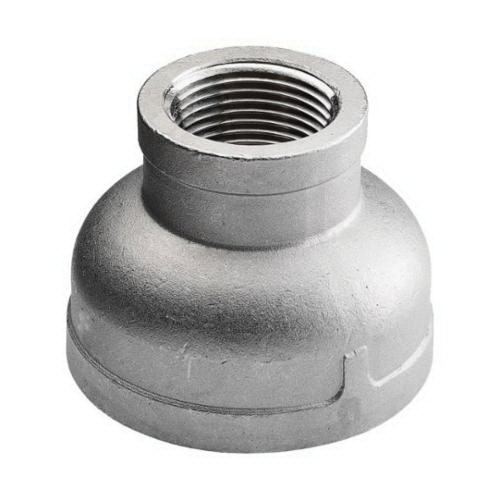 304 Stainless Steel Class 150 Cast Banded Reducing Coupling, 3/4 in x 1/2 in, FNPT, Import