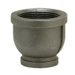 Black Malleable Iron Class 150 Reducing Coupling, 1-1/2 in x 1/2 in, Threaded, Import
