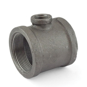Black Malleable Iron Class 150 Reducing Tee, 1-1/2 in x 1-1/2 in x 1-1/4 in, Threaded, Import