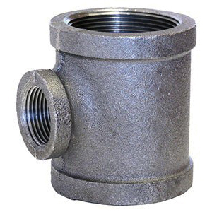 Black Malleable Iron Class 150 STD Reducing Tee, 1-1/2 in x 1-1/2 in x 1/2 in, FNPT, Domestic