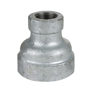 Galvanized Malleable Iron Class 150 Reducing Coupling, 1-1/2 in x 1 in, Threaded, Import