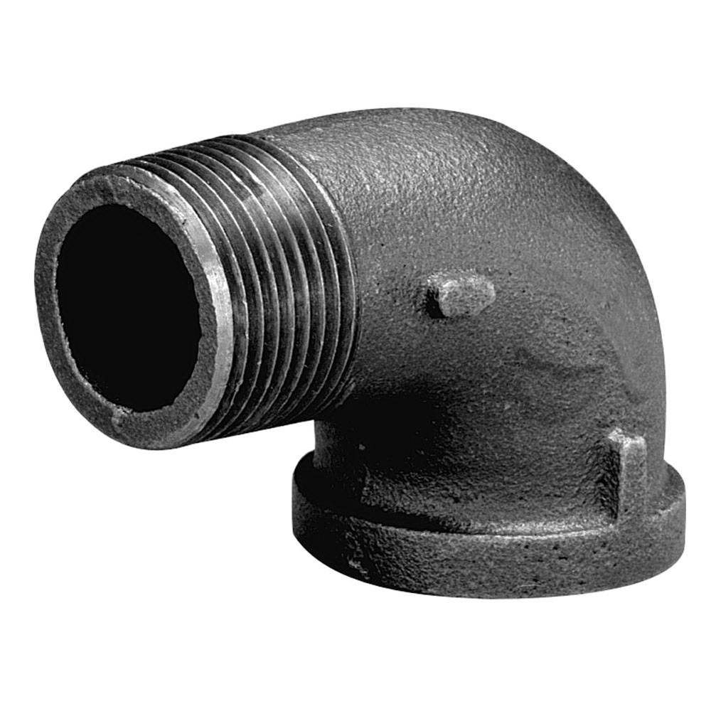 Black Malleable Iron Class 150 90 deg Street Elbow, 1-1/2 in, Import