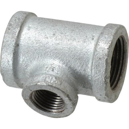 Galvanized Malleable Iron Class 150 Reducing Tee, 1 in x 1 in x 1/2 in, Threaded, Import