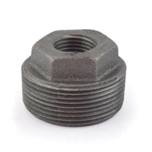 Black Malleable Iron Class 150 Inside Hex Bushing, 6 in x 4 in, Threaded, Import