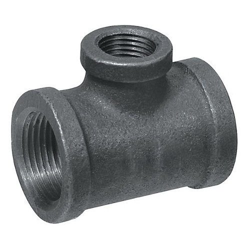 Black Malleable Iron Class 150 Reducing Tee, 1-1/2 in x 1 in x 1-1/4 in, Threaded, Import
