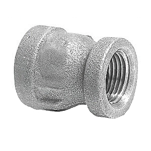 Galvanized Malleable Iron Class 300 XH Reducing Coupling, 1 in x 3/4 in, Threaded, Import