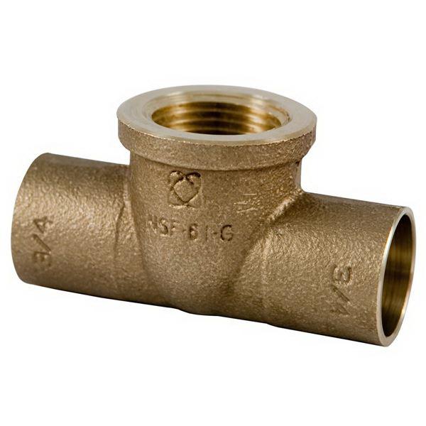 Bronze Cast Reducing Tee, 2 in x 2 in x 1/2 in, Copper x Copper x FNPT