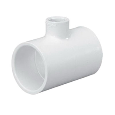 Gray PVC SCH 80 Molded Reducing Tee, 3 in x 3 in x 1 in, Socket