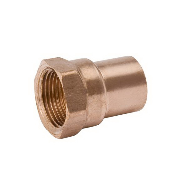 Copper Wrot Reducing Adapter, 1 in x 1/2 in, Copper x FNPT