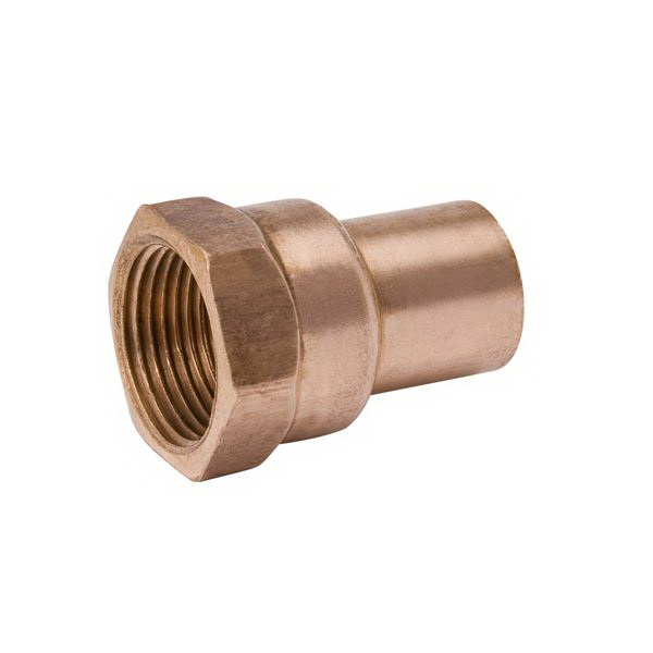Copper Wrot Reducing Adapter, 3/8 in x 1/2 in, Fitting x FNPT