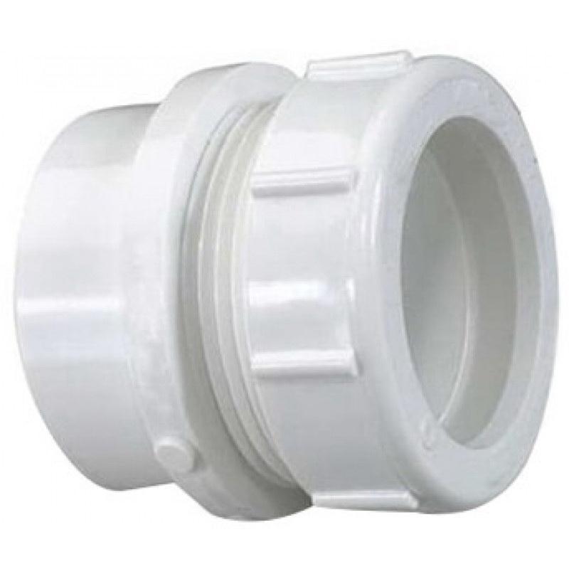 White PVC SCH 40 DWV Trap Adapter, 1-1/2 in x 1-1/4 in, Spigot x Slip