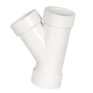 White PVC SCH 40 Molded 45 deg DWV Wye, Hub, Domestic