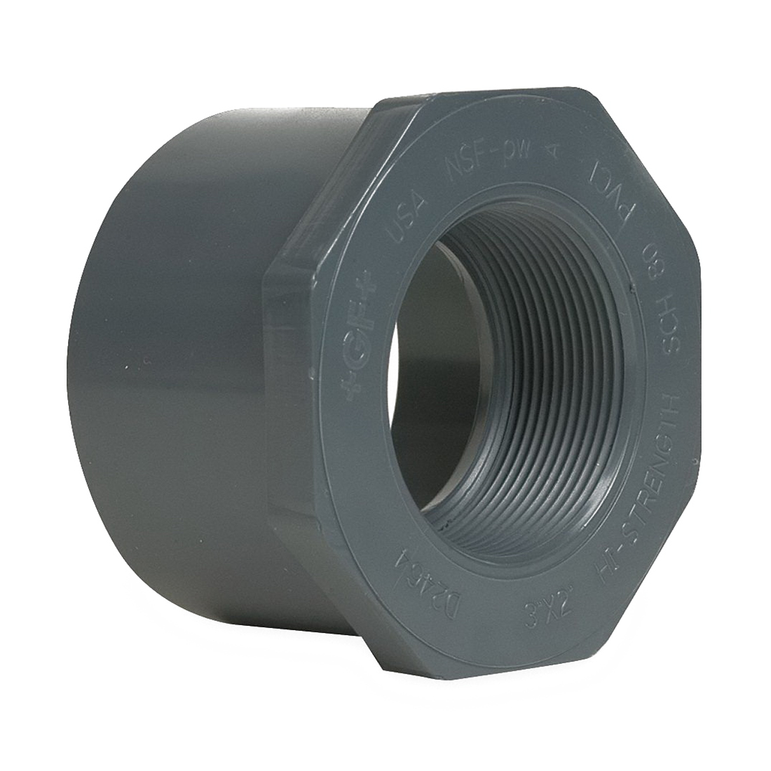 Gray PVC SCH 80 Flush Style Reducer Bushing, 3 in x 2 in, Spigot x FNPT