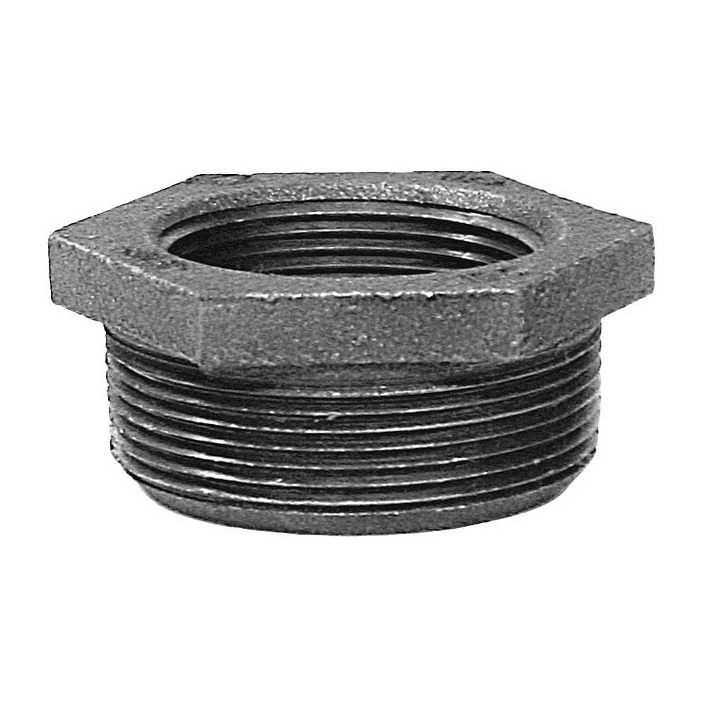 Black Malleable Iron Class 150 Hex Bushing, 3/4 in x 3/8 in, FNPT x MNPT, Domestic