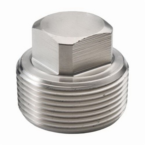 316L Stainless Steel Class 3000 Forged Square Head Plug, 3/8 in, MNPT, Import