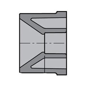 Gray CPVC SCH 80 Molded Reducer Bushing, 4 in x 2-1/2 in, Spigot x Socket