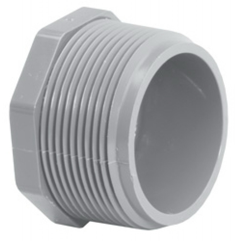 Light Gray CPVC SCH 80 Plug, 1-1/2 in, MNPT