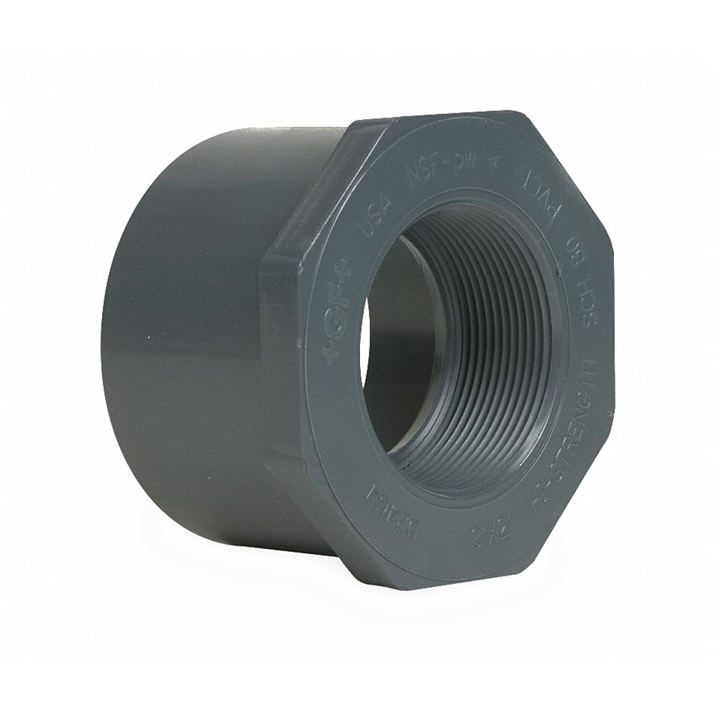 Gray CPVC SCH 80 Flush Style Reducer Bushing, 1-1/4 in x 1 in, Spigot x FNPT