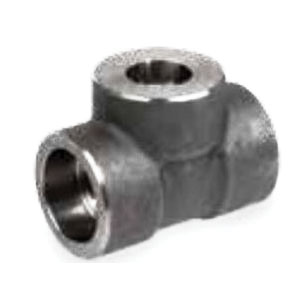 Steel Class 3000 Forged Reducing Tee, 1 in x 1 in x 1/2 in, Socket Weld, Import