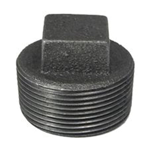 Black Malleable Iron Class 150 Square Head Plug, Threaded, Import