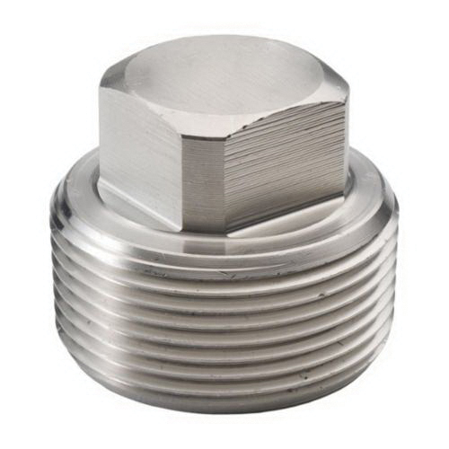 304 Stainless Steel Class 3000 Forged Square Head Plug, 1-1/4 in, MNPT