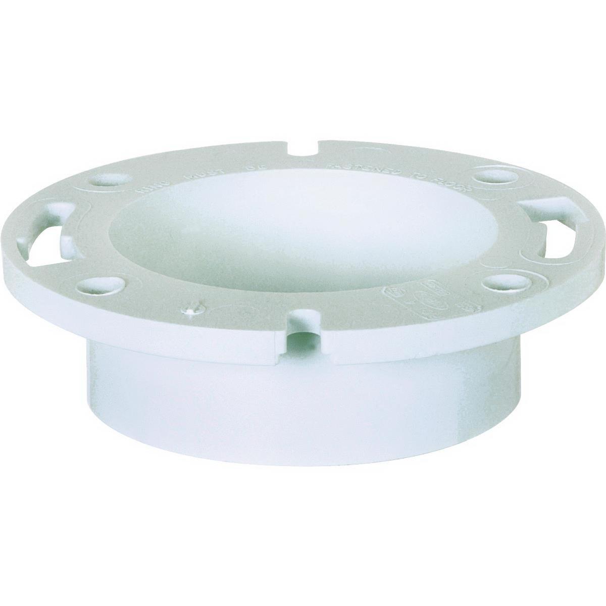 White PVC SCH 40 1-Piece DWV Closet Flange, 4 in x 3 in, Hub