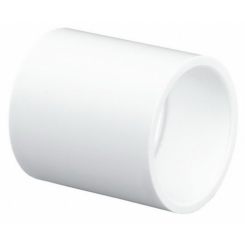 White PVC DWV Coupling, Hub