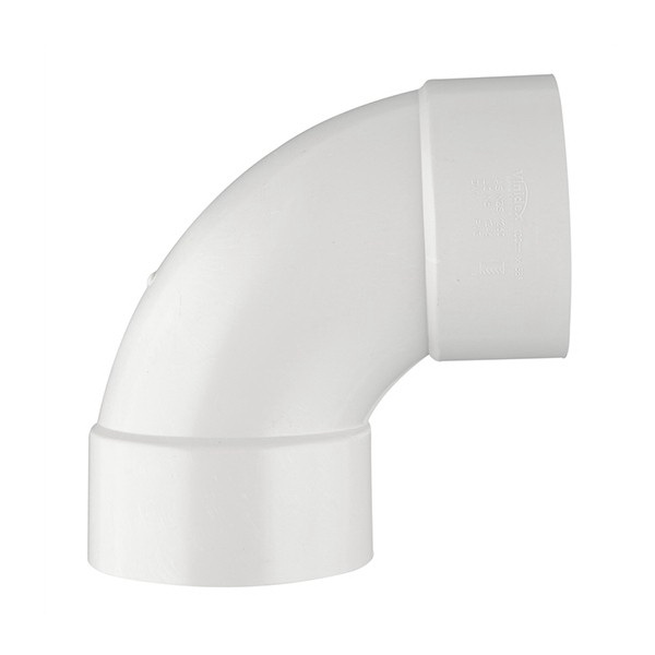 White PVC SCH 40 90 deg DWV Elbow, Hub
