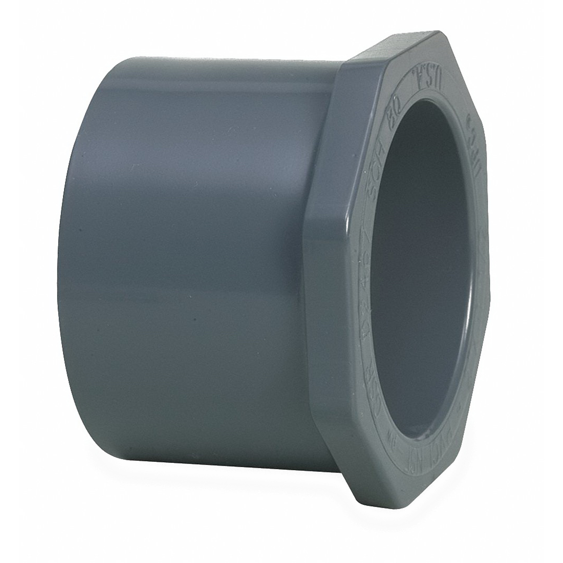 Gray PVC SCH 80 Flush Style Reducer Bushing, 2-1/2 in x 2 in, Spigot x Socket