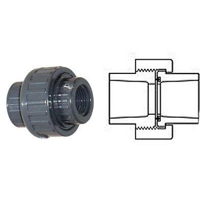Gray PVC SCH 80 Molded Union, 2-1/2 in, Socket, 5/BX