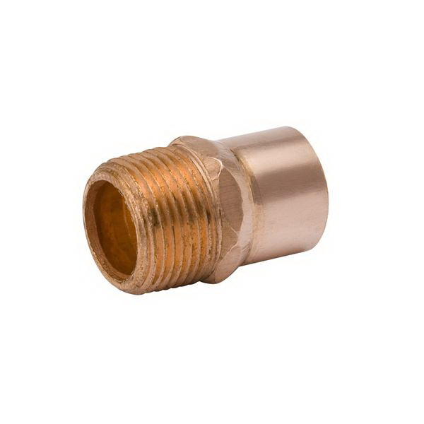 Copper Wrot Reducing Adapter, 1-1/2 in x 1 in, Copper x MNPT