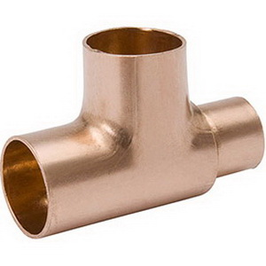 Copper Wrot Solder Joint Reducing Tee, 1-1/4 in x 1-1/4 in x 1 in, Copper, Domestic