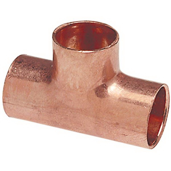 Copper Wrot Tee, 1 in x 3/4 in x 3/4 in, Copper