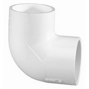 White PVC SCH 40 Molded 90 deg Elbow, Socket