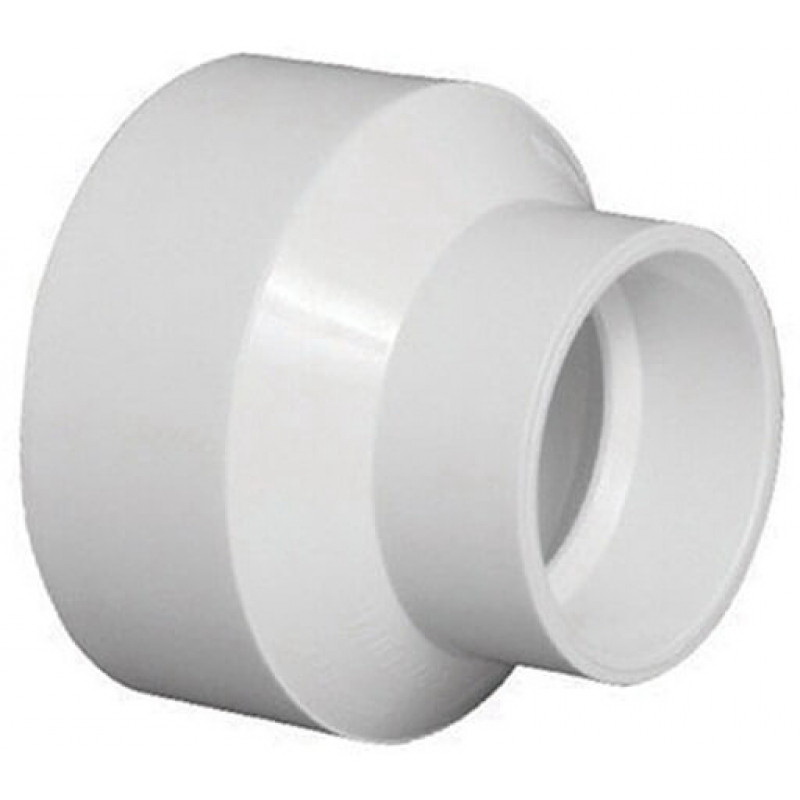 White PVC DWV Reducer Coupling, 6 in x 4 in, Hub