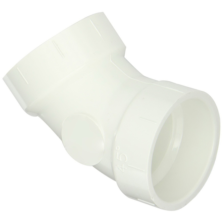White PVC SCH 40 45 deg DWV Elbow, Hub