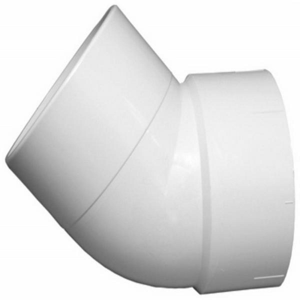 White PVC SCH 40 45 deg DWV Street Elbow, Hub x Spigot