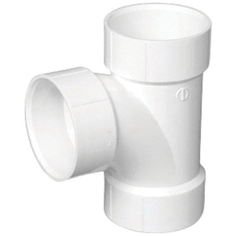 White PVC DWV Sanitary Tee, Hub