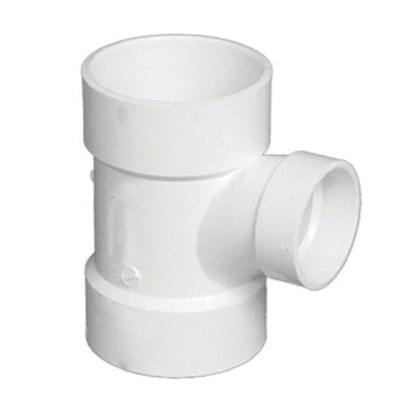 White PVC SCH 40 Molded DWV Sanitary Reducing Tee, 4 in x 4 in x 2 in, Hub, Domestic