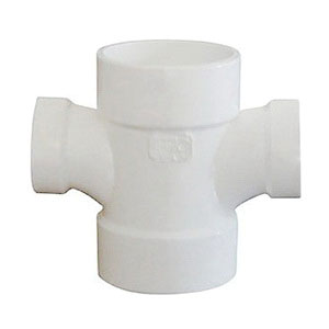 White PVC SCH 40 Molded Double Sanitary DWV Reducing Tee, 2 in x 2 in x 1-1/2 in x 1-1/2 in, Hub, Domestic