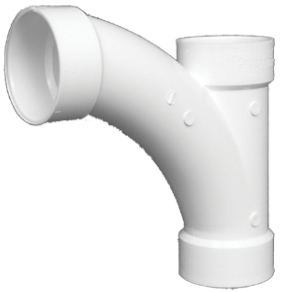 White PVC SCH 40 Molded 22.5 deg DWV Long Turn Reducing Combination Wye, 2 in x 2 in x 1-1/2 in, Hub, Domestic, 20/CT